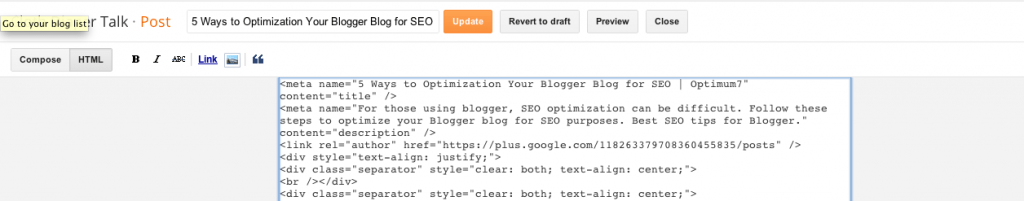 meta data for individual blog posts on blogger