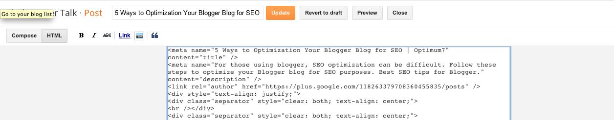 meta data for individual blog posts on blogger