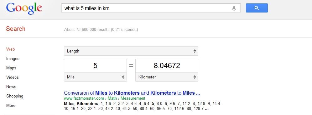 5 miles in km
