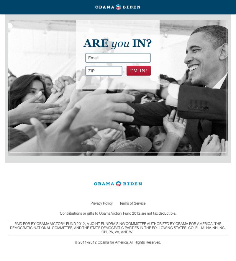 Barack Obama Landing Page