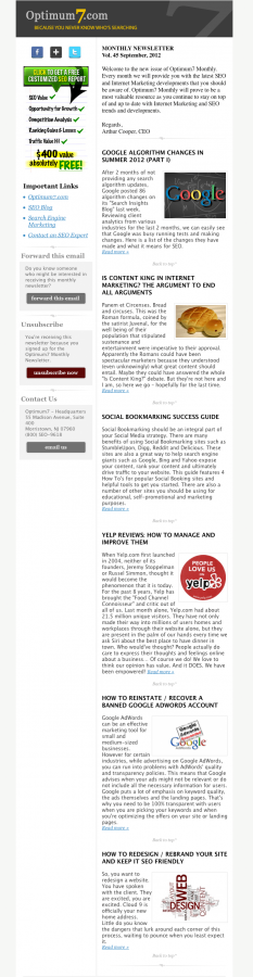 creating an effective email newsletter
