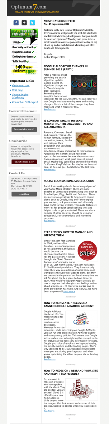 designing monthly newsletters effectively