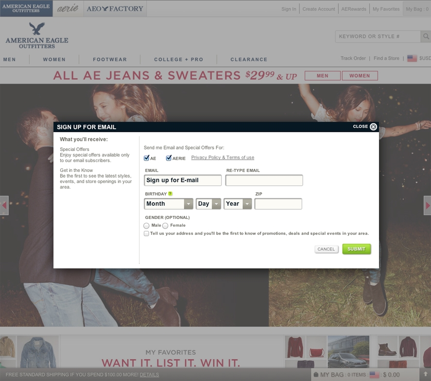 American Eagle Email Marketing