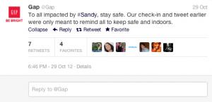 Gap Hurricane Sandy Apology Tweet