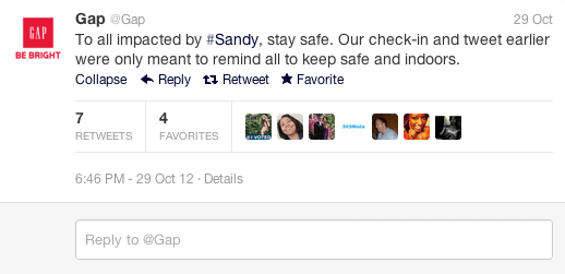 Gap Hurricane Sandy Apology Tweet