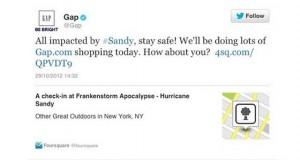 gap hurricane sandy tweet
