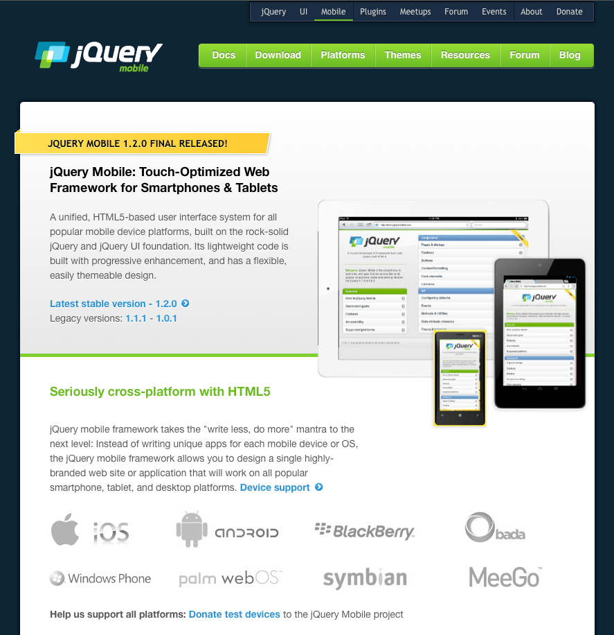 jQuery Mobile Screenshot