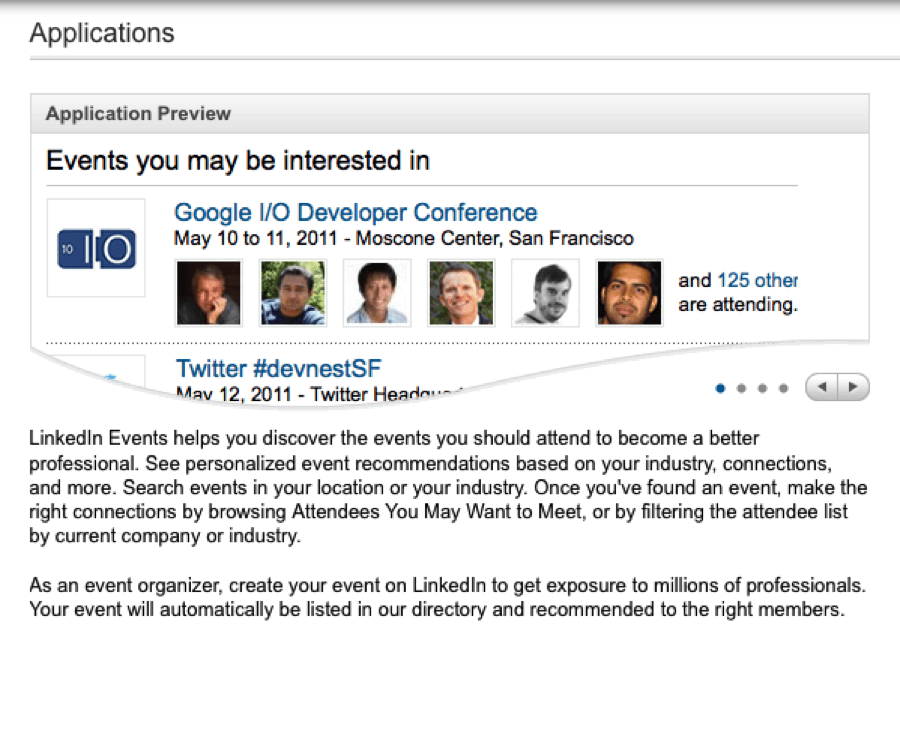 display and search for events right on your LinkedIn profile