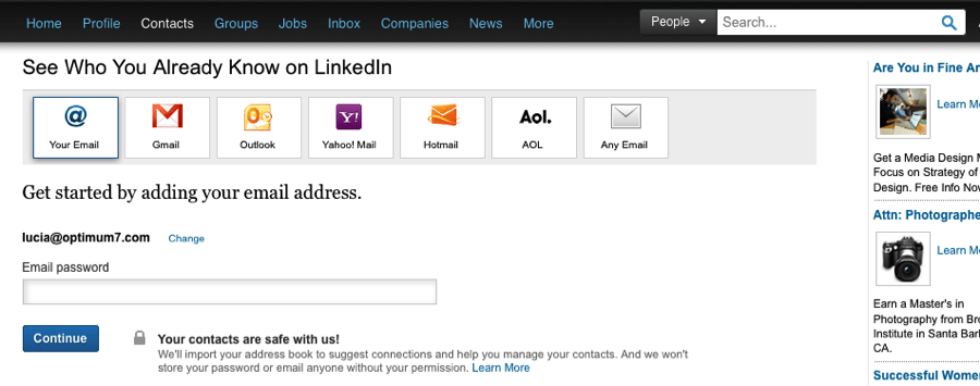 searching for connections on Linkedin