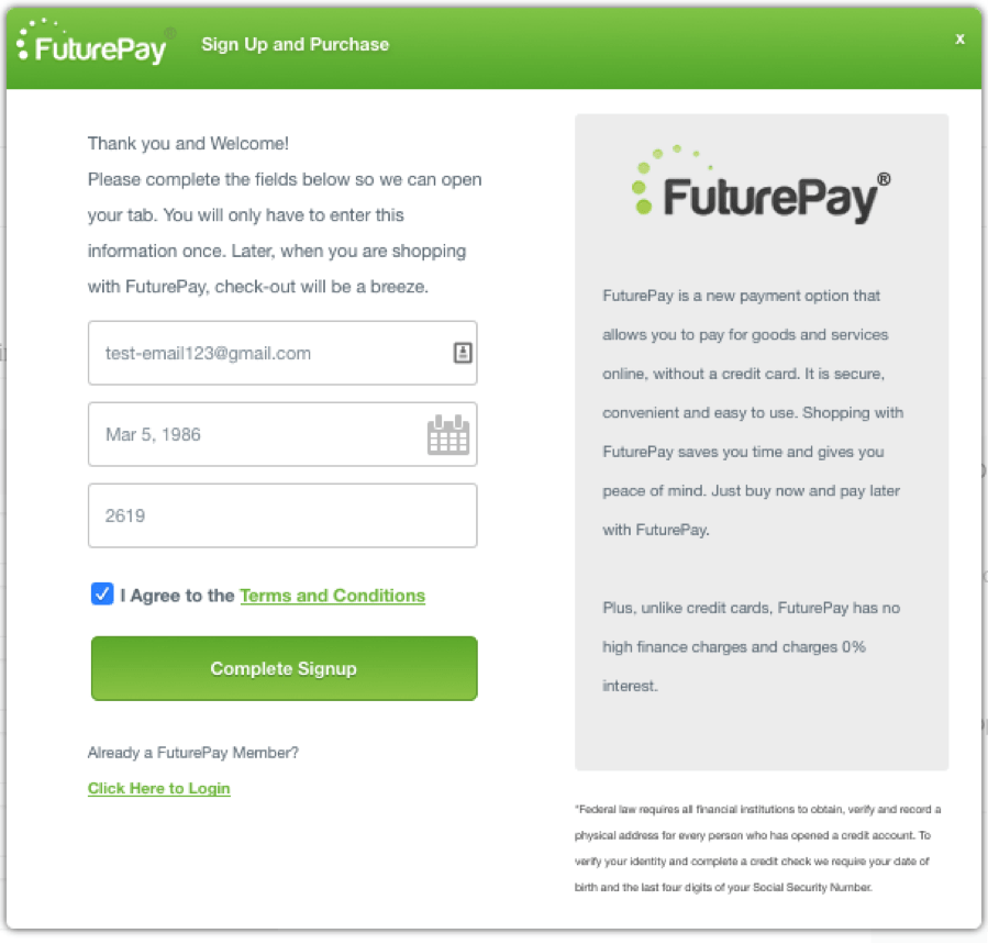 FuturePay Integration with Volusion