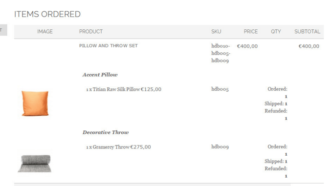 Advanced reciept and images in orders