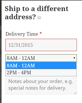 Delivery Time Slots
