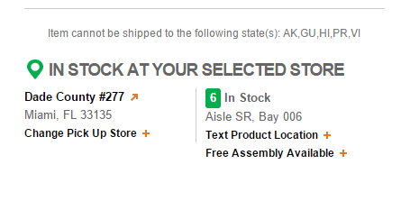 In stock at location functionality