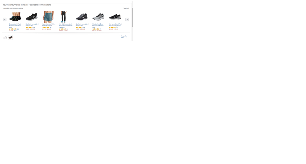 Product Recommendation Gallery Scroller Based on Shopping History and Recommendations