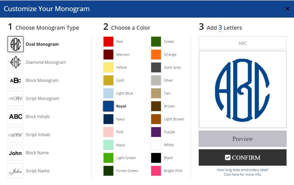 Monogram Swatch Integration