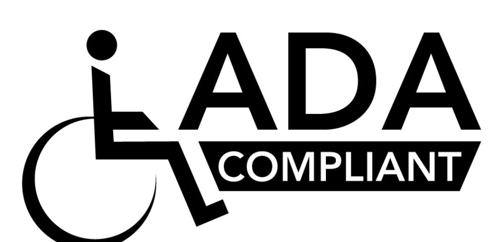 "Black and white disabled figure in a wheelchair with the text ""ADA Compliant"" in black overlayed on top"