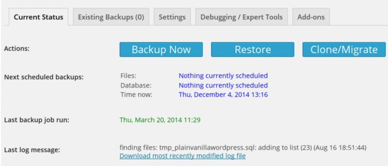 Backup and Migration Functionality