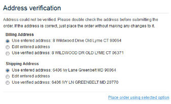 Validate My Address Functionality