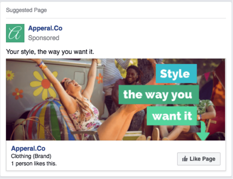Apperal.Co Facebook Likes Ad Campaign