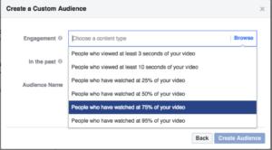 Creating Facebook video custom audience 75% viewed