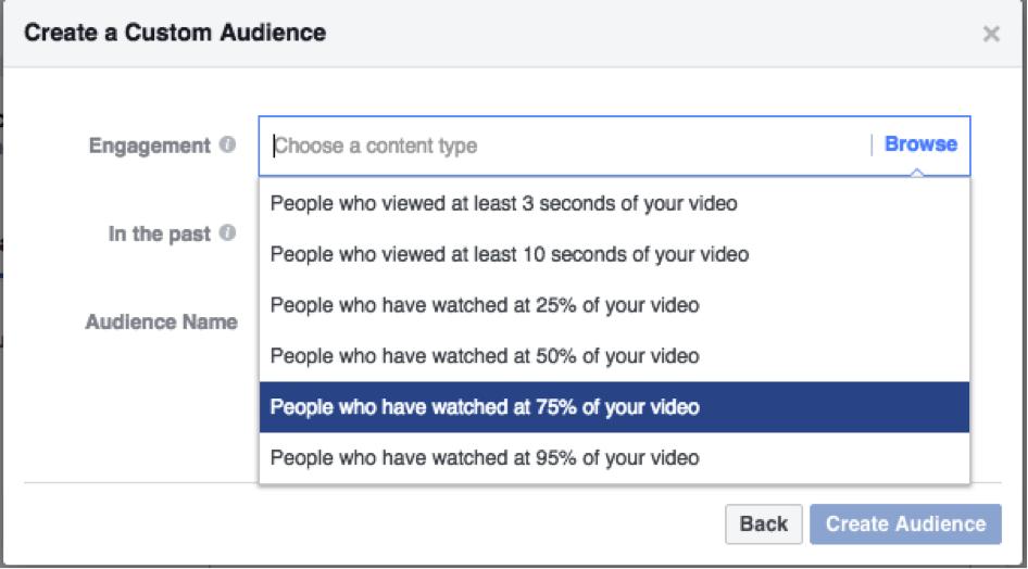 Creating Facebook video custom audience 75% viewed