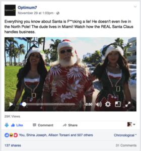 Optimum7 Santa Video Engagement Post
