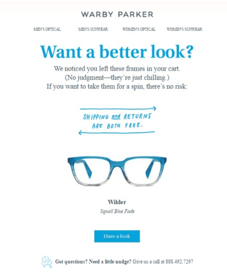 warby parker abandoned cart