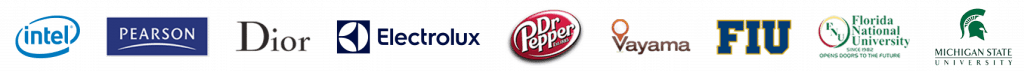 Optimum7 Client Logos - Intel, Pearson, Dior, Electrolux, Dr. Pepper, Vayama, FIU, FNU, Michigan State University