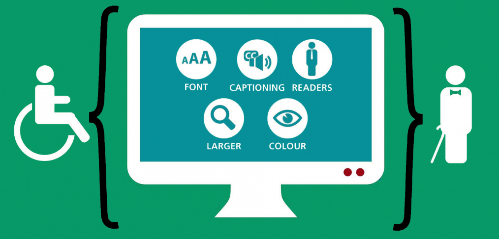 ADA compliance web accessibility checklist header image font, captions, readers, larger, color