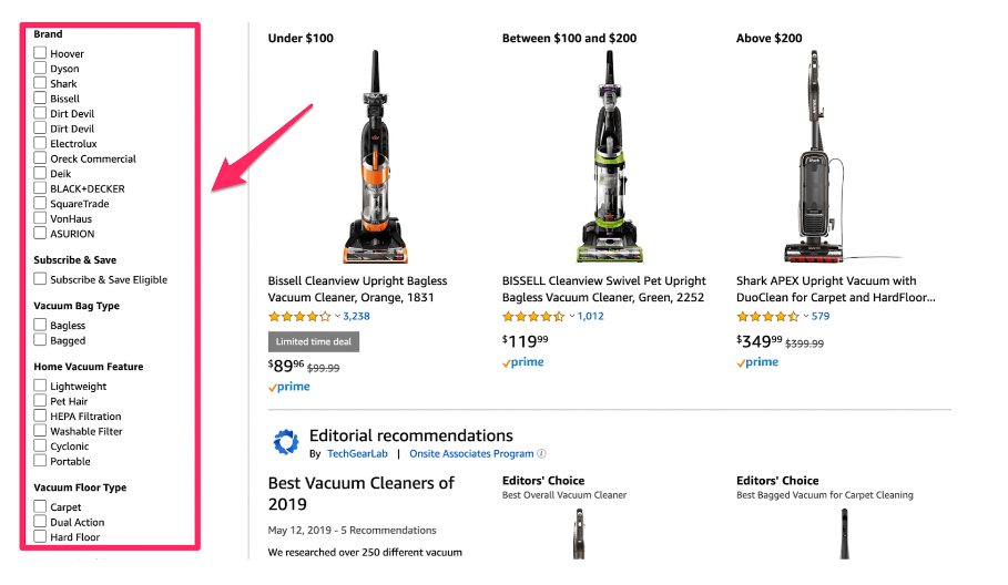Amazon search results filtering with faceted search