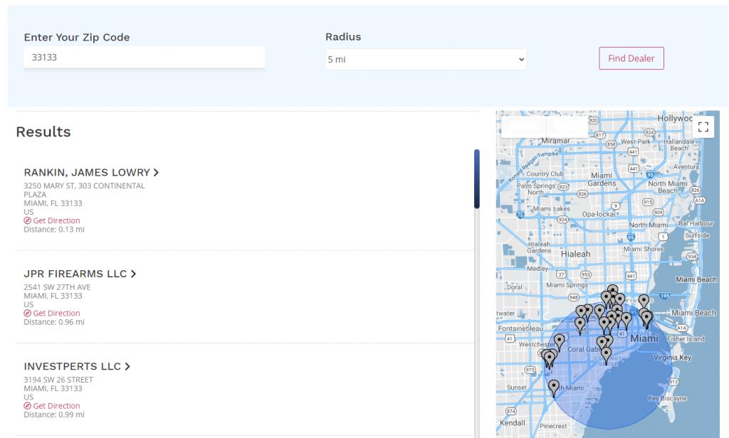 FFl API Gun Dealer Locator